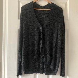 Sweaters - Grey batwing cardigan with buttons and pockets